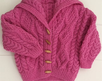 Pink Sailor Collar Hand Knitted Cable Jumper