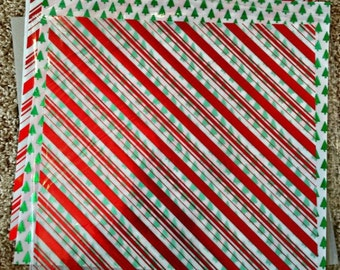 Christmas Holiday Fancy Foil 12 X 12 Paper by Stampin' Up!-Red, Green,gold and Silver Colors