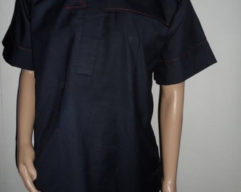 Navy Blue Poiished cotton suit with Red design