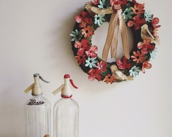 Wreath, Paper Flowers, Paper, Moss, Ribbon, Flowers
