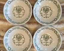1950's Scio Pottery Provincial Green Rooster & Weather Vane Berry Bowls (set of 4)