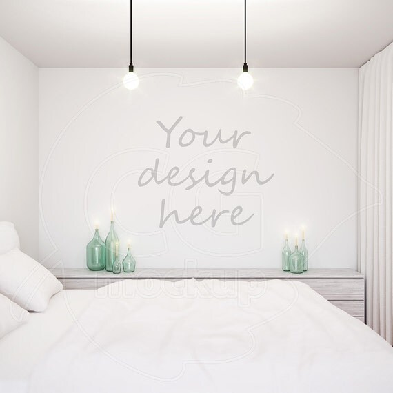 Styled stock blank wall mockup wall decal stencil template for Wall decor templates