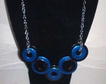 Industrial Geometric black and blue washer necklace