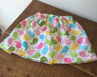 Elasticated waist bird print skirt