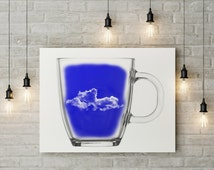 Cup of, wall art, canvas print, best selling, hanging art, art collectibles, digital illustration, gifts for her, etsy gifts