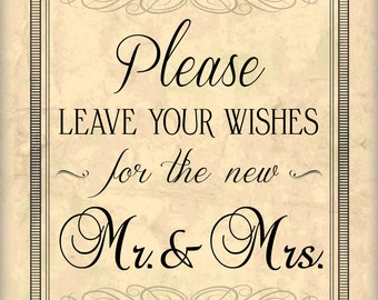 Wedding Wishes Sign Digital Download