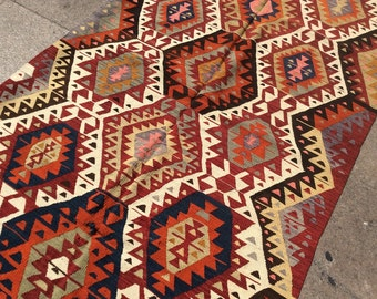 Bright turkish kilim rug, vintage kilim 7x4 ft