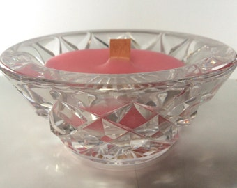 Handmade Chocolate Scented Crystal Bowl Candle with Wooden Wick