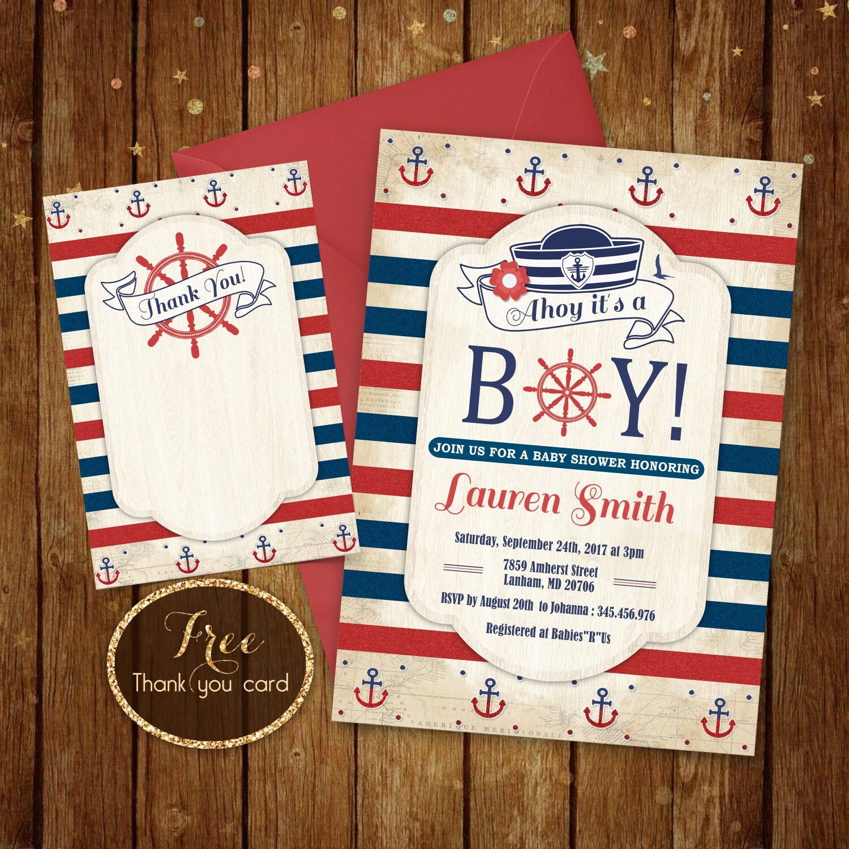 nautical baby shower invitation printable ahoy its a boy