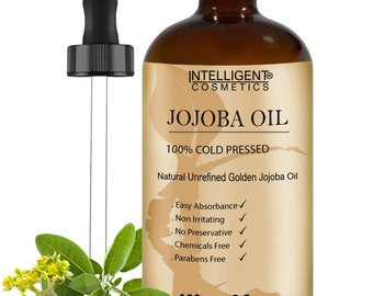 Jojoba Oil 100% Cold Pressed Pure Certified Organic 100ml for Sensitive and Acne Prone Skin, Beneficial for Face, Skin, Body & Hair