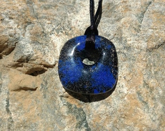 Fused Glass Pendant, Clear/Black with blue accents, Handmade Necklace