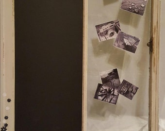 Window hanging chalk board and photo display