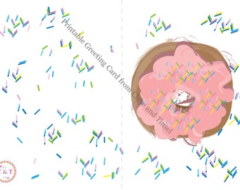 Donut Greeting Card, Printable Blank greeting Card, Birthday, Donuts, Card, Donuts with Sprinkles, Sprinkles, Fun Gift Idea, Printables
