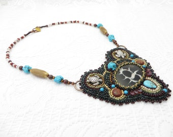 Seed Bead Bib Necklace, Natural Septarian, Cabochon Necklace, Spirit Stone Necklace , Septarian, Bead Embroidery Necklace, Beaded Septarian