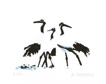 Japanese cranes original linocut print (A6) - limited edition