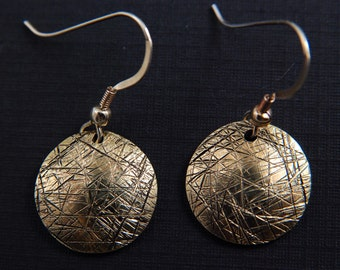 Brass textured round domed,disc, dangle, drop, earrings, Boho, Minimalist, Rustic, Tribal, Modern, Free Shipping