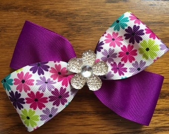 4 inch purple and flower hair bow