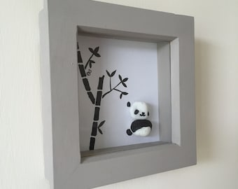 Handmade small framed panda stone pebble picture China