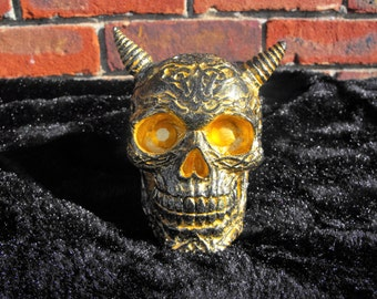 Hand Painted Horned Demon Skull