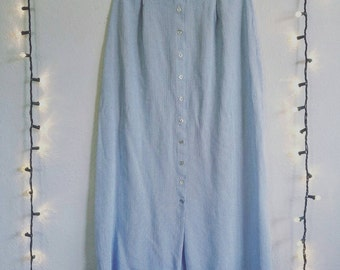 Vintage Sky Blue Button Down Skirt