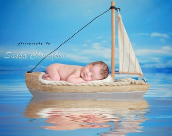 Digital backdrop, background newborn baby boy or girl boat blue nautical sea