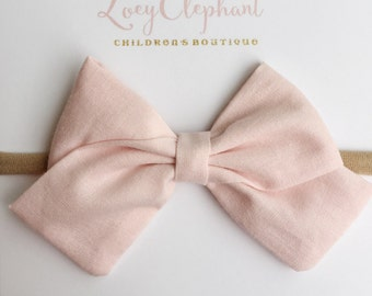 Baby Girl Headband, Baby Pink Fabric Bow, Fabric Bow Hair Clip, Toddler Hair Clip, Nylon Headband, Baby Headband, Baby Shower Gift
