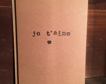 Je t'aime, quote card, best friend card, love card, quote greetings card, I love you card, anniversary card, wedding card, girlfriend card