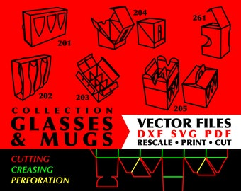 Glasses & Mugs // Collection of 6 Digital Vector Cutting Packaging Templates in DXF SVG PDF Formats // Instant Download