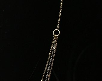 Tri-Tone 14k Gold Necklace, Layered Bead Necklace, Three Chains Necklace, 14k Gold Necklace,