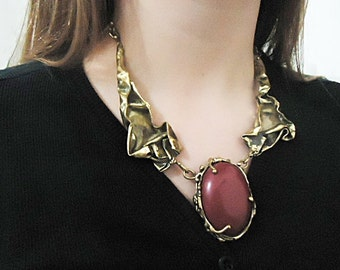 Necklace in aged brass with red jasper stone. Handmade exclusive piece