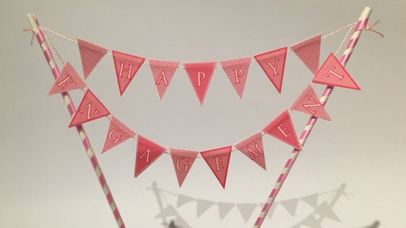 Happy Engagement Bunting Cake Topper