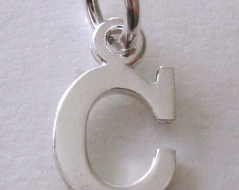 Genuine SOLID 925 STERLING SILVER 3D Initial C Letter Pendant