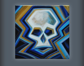 """Abstract skull painting, acrylic on stretched canvas, 12"""" x 12"""", 1.5"""" deep"""