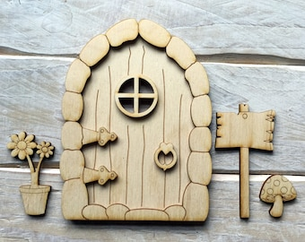 Wooden Fairy Door Blank Birch Pywood Pixie Hobbit Elf door Kit ready to decorate KIT CS