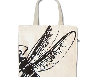 Dragonfly(white) Funtote canvas Tote Bag