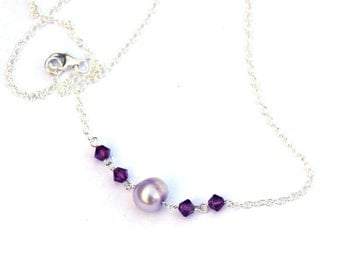 Pearl and Crystal Necklace - Pearl necklace - Freshwater pearls - with Swarovski crystals - Sterling silver - Gifts for her, girlfriend gift