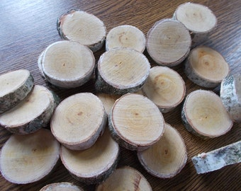 SALE - 25%, 50 Small Birch Wood Slices ~ 1.1 to 2.0 inch, Rustic Tree Branch Slices for Craft, Natural Wood Slices,