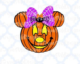 Minnie Pumpkin with Spider Bow SVG,EPS,PNG,Studio