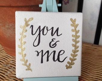 You & Me Mini Canvas and Easel set