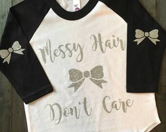 Messy Hair Dont Care Bow Raglan