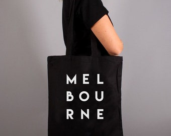 Melbourne Typography Tote Bag Canvas or Black – Makes a stylish gift for friends!