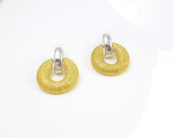 Gold Hoop Earrings, Gold Plated Earrings, Circle Earrings, Two Tone Earrings, Dangle Earrings, Vintage