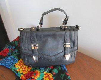 Black leather look handbag black handbag black purse brass trim pvc faux leather Sportsgirl brand vintage.