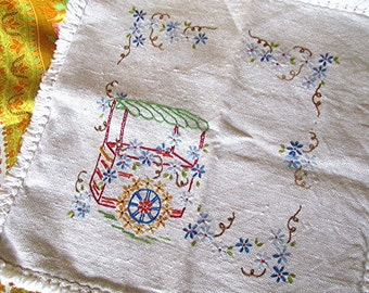 Embroidered linen cushion cover pillow cover folk art cottage style vintage 70s.