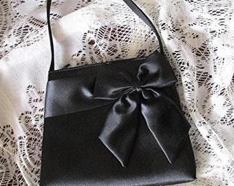 Black satin evening bag handbag purse elegant vintage 90s Victorian goth bow.