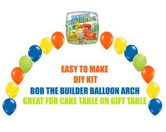 Bob the Builder Birthday Balloons, Bob the Builder Arch Balloon Party Decor Cake Table Gift Table, DIY KIT Party Supplies Balloons