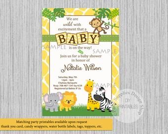 baby safari jungle animals baby shower invitations jungle baby shower invitations yellow polka dots