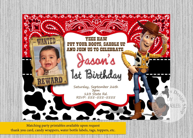 Toy Story WOODY Birthday Invitations Woody Birthday Party