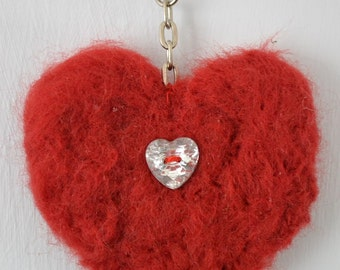 Needle Felted Red Heart Keyring Keychain Charm