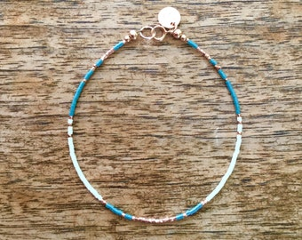 Tiny Teal, White, and Rose Gold Seed Bead Bracelet or Anklet
